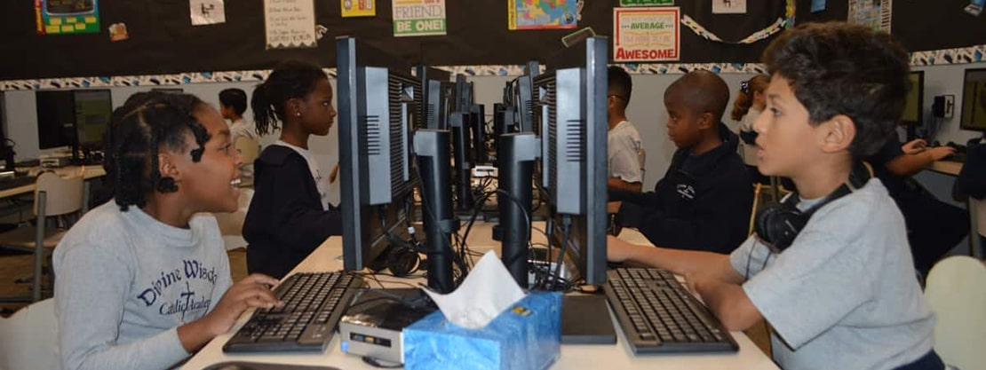 Divine Wisdom Catholic Academy students in computer lab