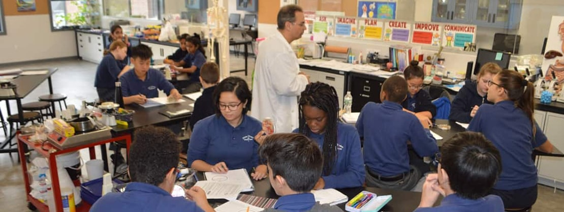 Divine Wisdom Catholic Academy students in science class