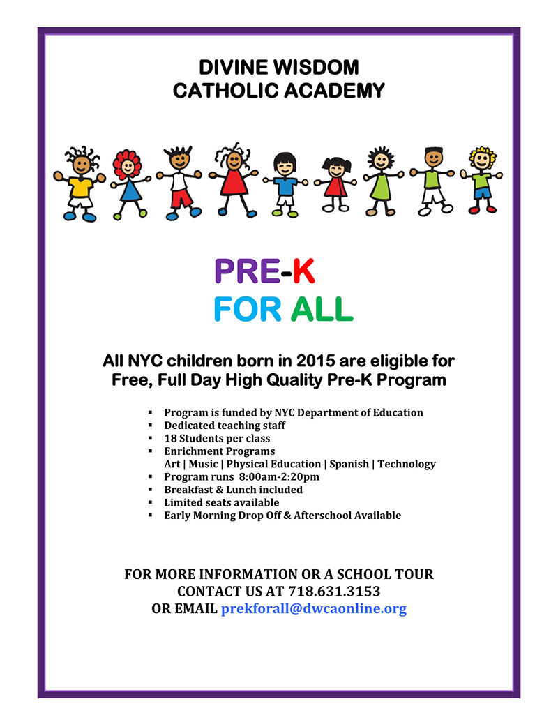 pre-k for all flyer for divine wisdom catholic academy